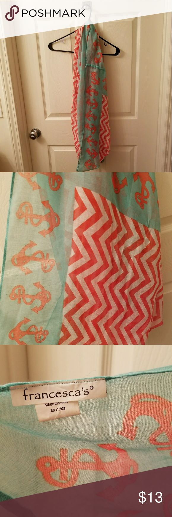 Preppy Anchor Scarf! Perfect for Delta Gammas! Preppy chevron and anchor print infinity scarf! Super cute! Never worn! Francesca's Collections Accessories Scarves & Wraps
