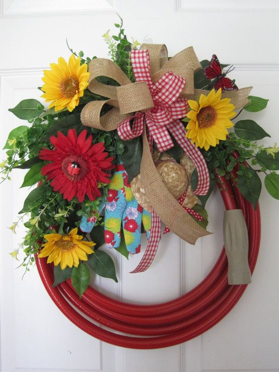 Hey, I found this really awesome Etsy listing at https://www.etsy.com/listing/232270733/red-garden-hose-wreath-spring-wreath