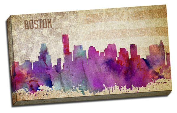 Boston Watercolor City Skyline, Printed on Canvas Stretched, $39.85 https://twitter.com/BostonDeals_/status/710896218784796673