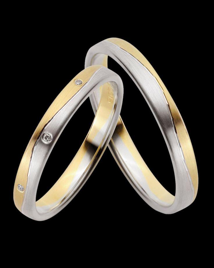Βέρες Fine Selection δίχρωμες χρυσός-λευκόχρυσος Κ8 με Διαμάντια