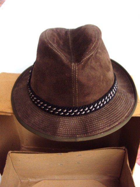 Vintage Mens Hat Suede Leather and Cording