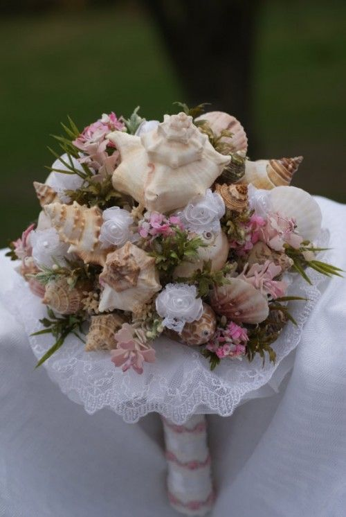 Items Similar To Light Pink Seashell Bouquet Beach W Rose Trim Handle On Etsy