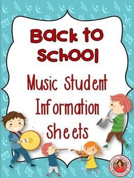 MUSIC: First Day Student information sheets.  Preview at:https://www.teacherspayteachers.com/Product/First-Day-Student-information-sheets-97366       #musedchat    #musiceducation