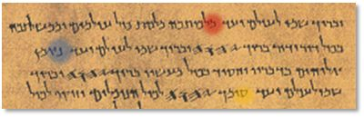 Psalm145_DSS: When we examine Psalm 145 from the Dead Sea Scrolls, we find between the verse beginning with the מ (mem-top) and the verse beginning with the ס (samech-bottom), the verse beginning with the letter נ (nun-center). This verse, missing from the Aleppo Codex, and missing from all modern Hebrew Bibles that are copied from this codex, but found in the Dead Sea Scrolls, says נאמן אלוהים בדבריו וחסיד בכול מעשיו (The Lord is faithful in His words and holy in all His works).
