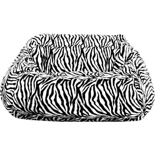 Plush Zebra Print Beanbag Loveseat Comfortable And Easy To Move In Out Of Your College Dorm Room
