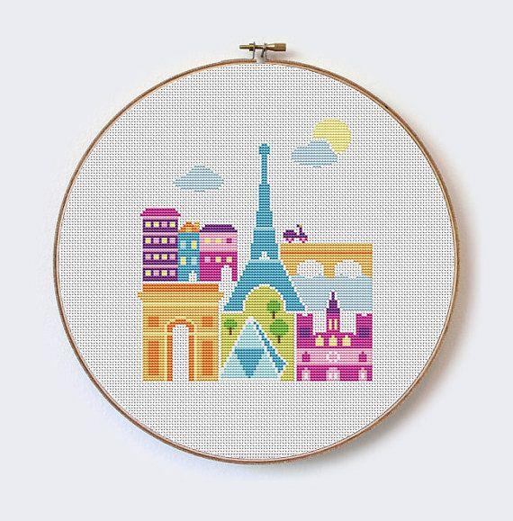 Paris  modern cross stitch pattern  PDF format  by MilaliParade