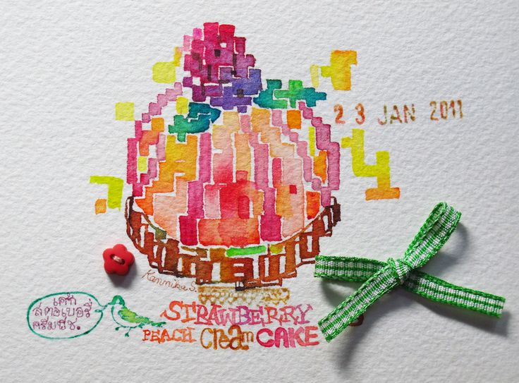 23-1-11 Strawberry Peach Cream Cake Cross-Stitch (8x12cm) | by Bua S