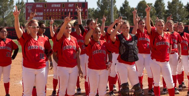Texas Tech Lady Raiders softball team gets their GUNS UP!