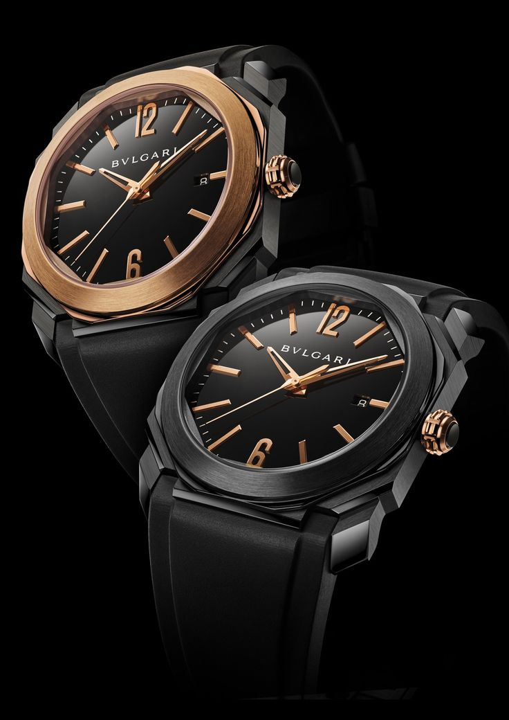 The Bulgari Octo Solotempo in both versions: all-black stainless steel and black stainless steel with a pink gold bezel