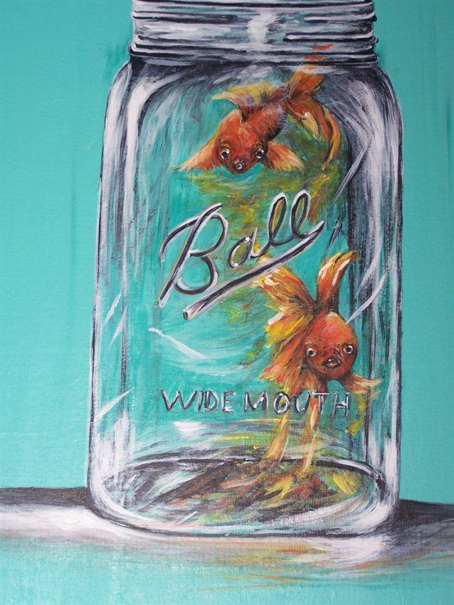 Fantasy gold fish in a jar by anna gold fish for Fish in a jar