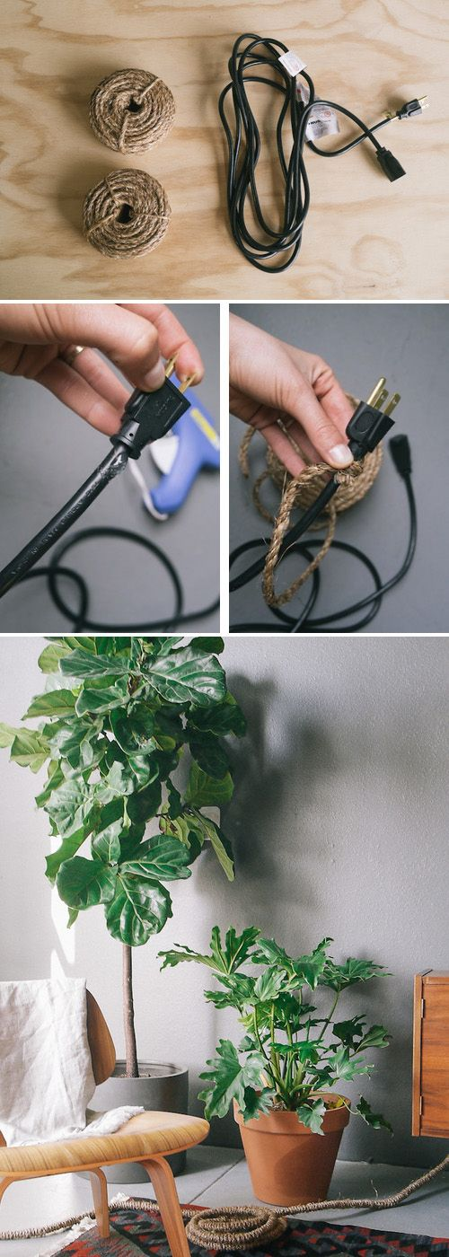 A stylish way to disguise cords. #simplesolutions