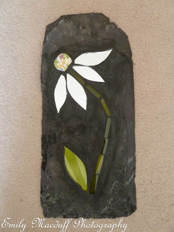 Handmade Pottery 35.00. A gift idea by Mary Macduff found on MyOwnCreation.co.uk: Handmade daisy mosaic on slate. I try and use as many recycled items as possible  hand cut  from old crockery, glass bottles etc. This will brighten up any garden. Although weatherproof, please take indoors in frosty conditions.  Please handle with care  - May still have sharp edges.