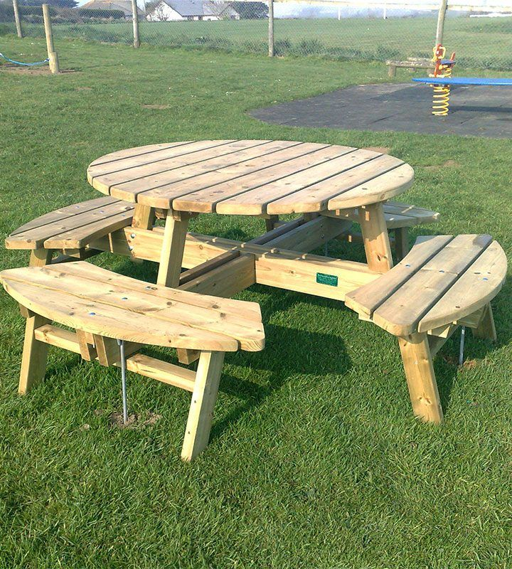 17 best ideas about round picnic table on pinterest for 8 picnic table plans