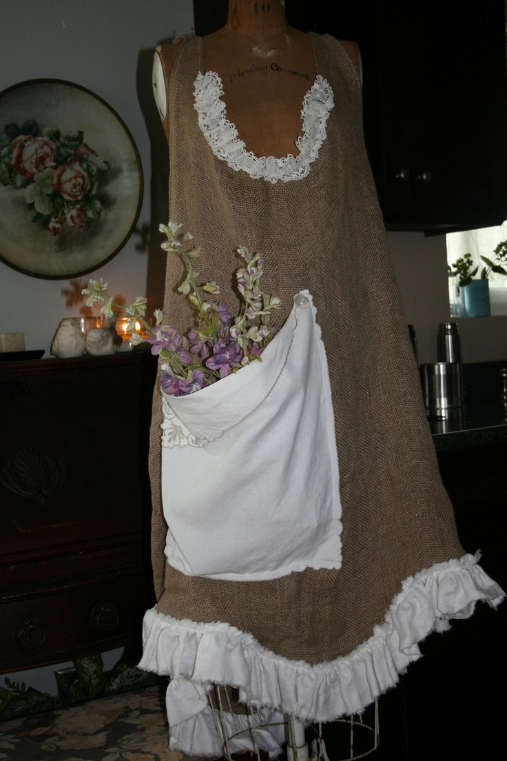 White apron old school rs - Rustic Burlap And Vintage Damask Linen Gathering Gardening Apron Xl 98 00 Via Etsy