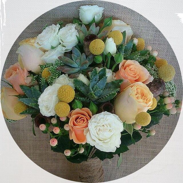 Such beautiful textures in this bridal bouquet ~ succulents, gumnuts, Queen Anne's lace, hypericum, billy buttons and 3 types of roses xxx