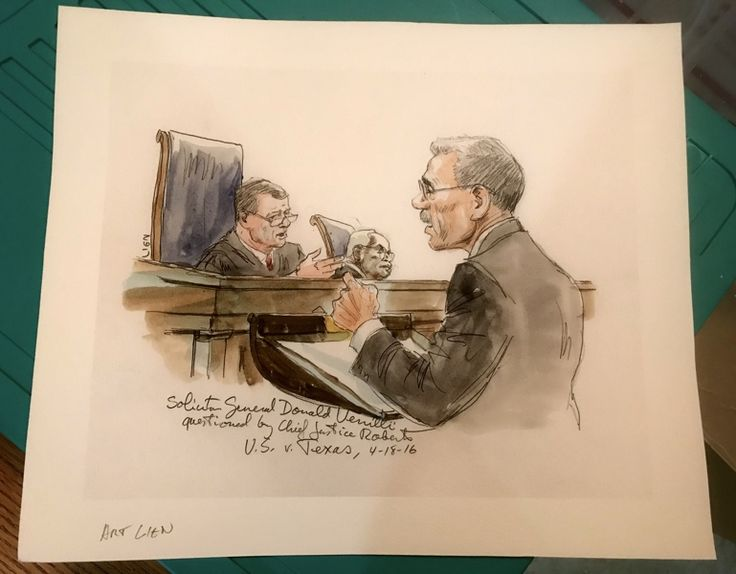 Famous Supreme Court Artist ART LIEN Original Watercolor Chief Justice Roberts etc.