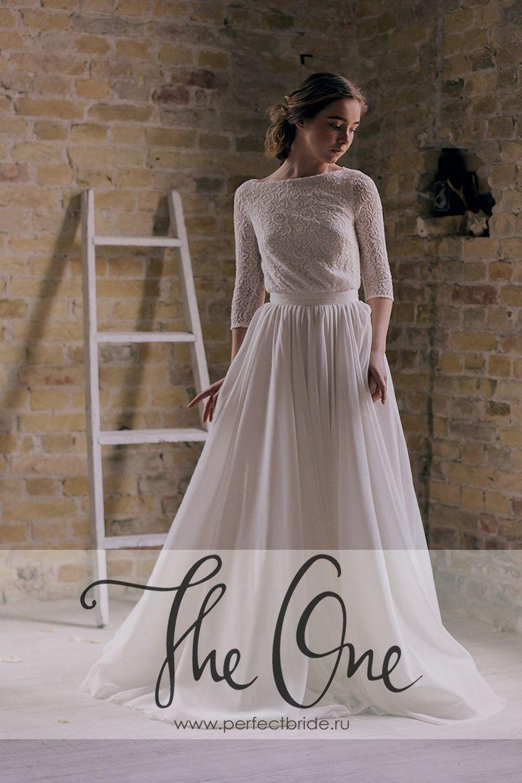 Нестандартное нежное свадебное платье Echo с кружевными рукавами
