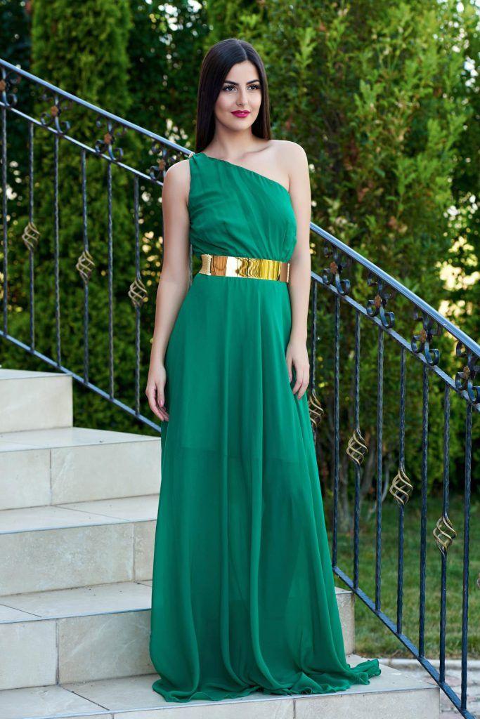 rochie lunga verde - rochii de seara lungi la reducere