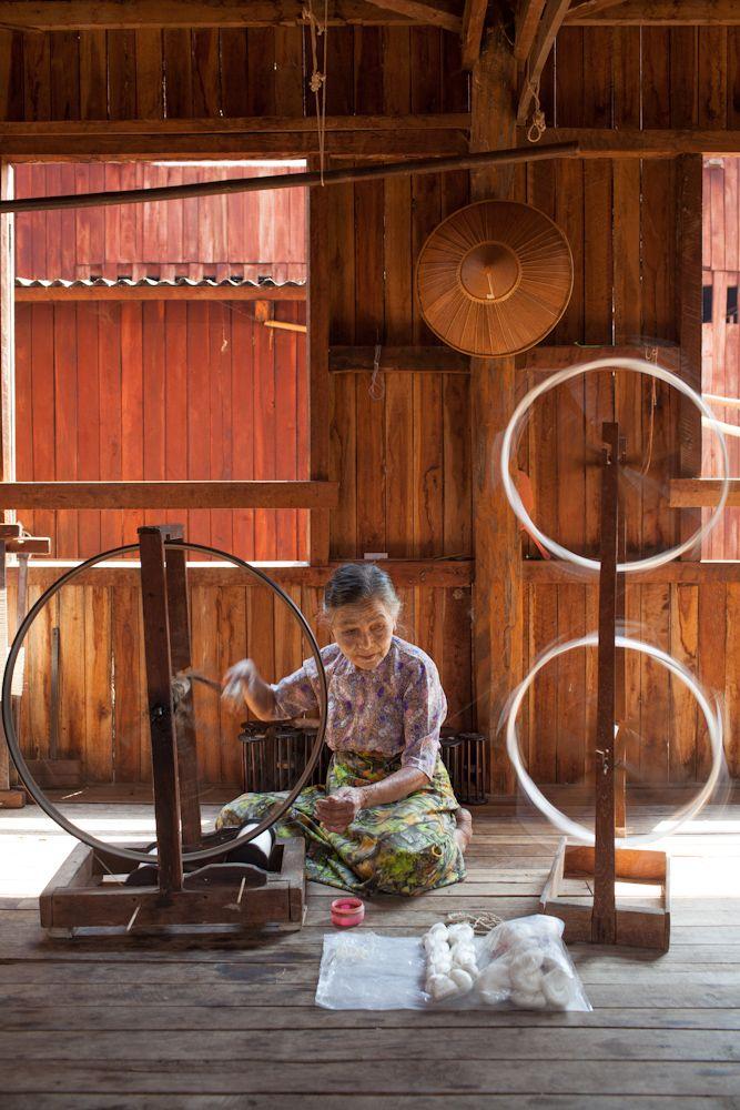Spinning lotus fibers at Ko Than Hlaing workshop on Inle Lake, Burma/Myanmar