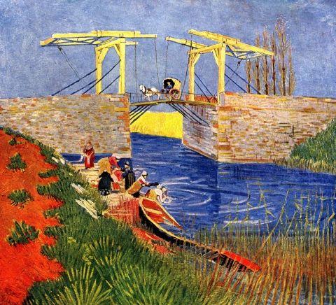 Il ponte di Langlois ad Arles con donne che lavano