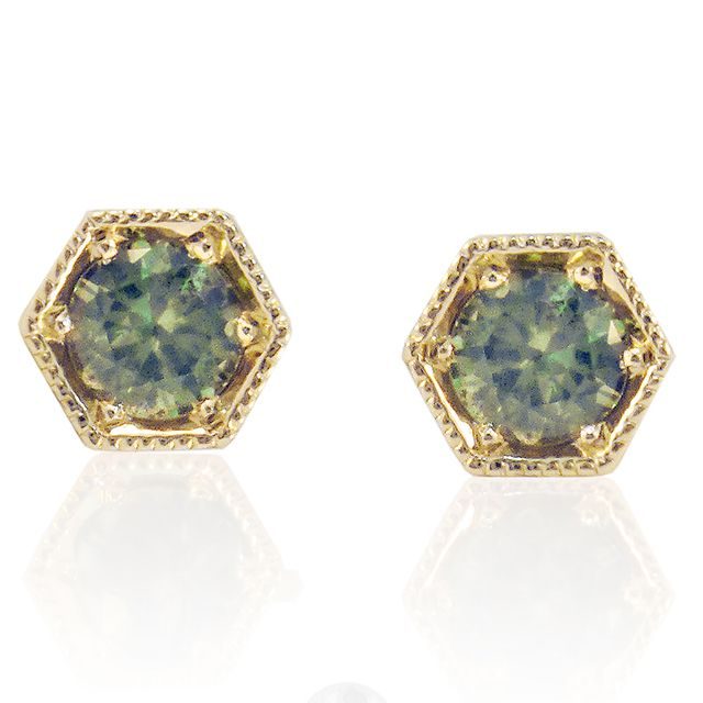 http://rubies.work/0302-sapphire-ring/ Drusilla Orange Sapphire and Emerald Earrings. Green CZ Hexagon Studs