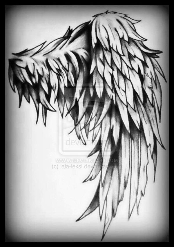 tattered angel wings tattoo | Tattered Wing Tattoo by lala