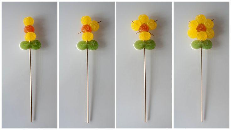 Paso a paso de como hacer flores de gominolas
