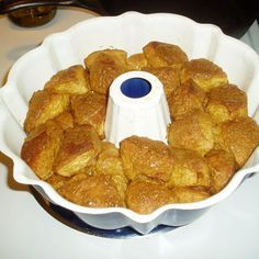 I didn't want to make a large Monkey Bread for just my Husband and I, so I experimented with just 1 can of Grands Butter Biscuits...this is what I came up with