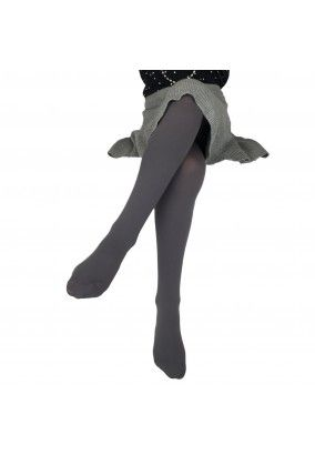 Girls Opaque Pantyhose, Gray Microfiber Tights, 50 Denier