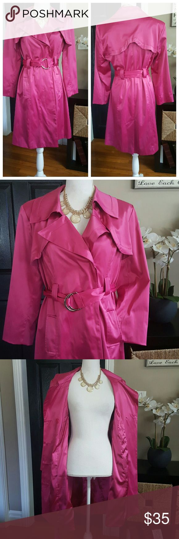 "NY Collection Pink Coat sz M 😍 Gorgeous  coat  by NY Collection. 52% polyester 46% cotton Aprox 36"" long. Priced to sell. NY Collection Jackets & Coats Trench Coats"