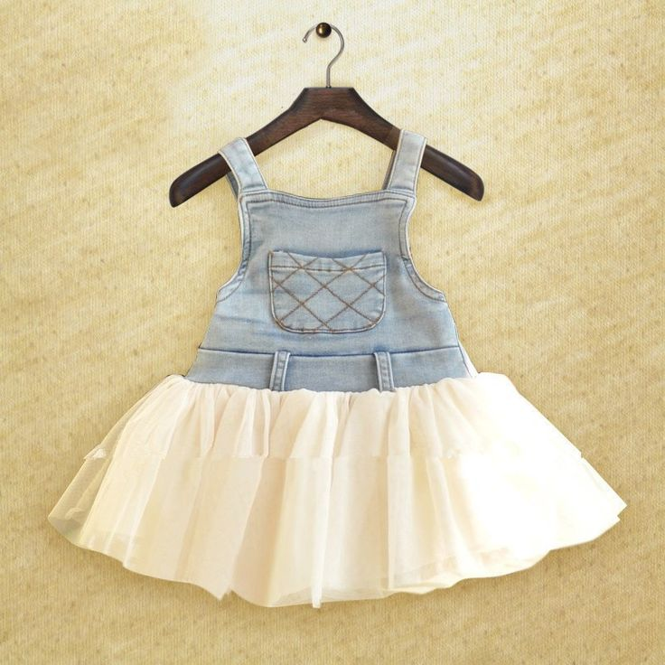 Cute dress with a denim bodice and tulle skirt - available in pink, white and yellow.