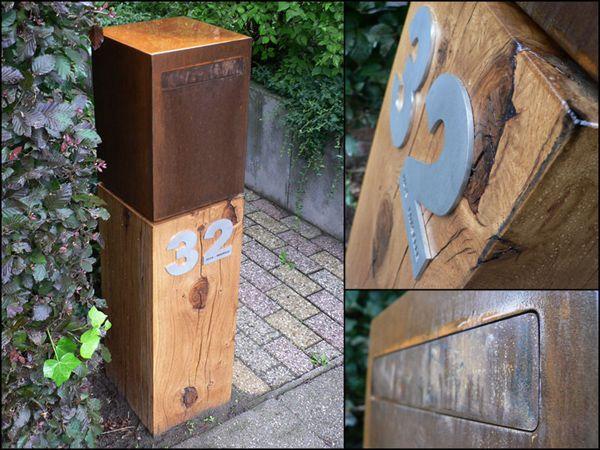 Brievenbus Wood Cube cortenstaal