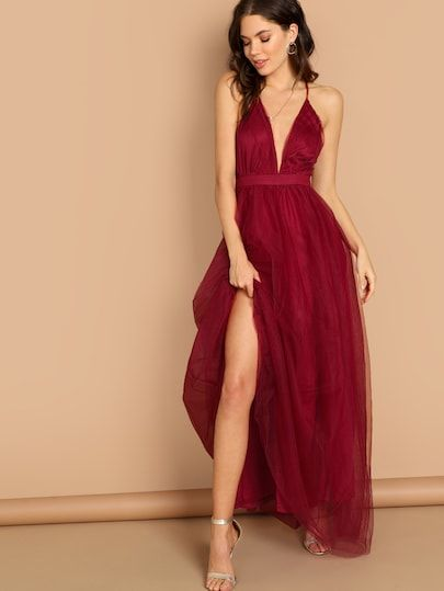 44bac0880f Shop Plunging Neck Crisscross Back Cami Dress online. SheIn offers Plunging  Neck Crisscross Back Cami Dress & more to fit your fashionable needs.
