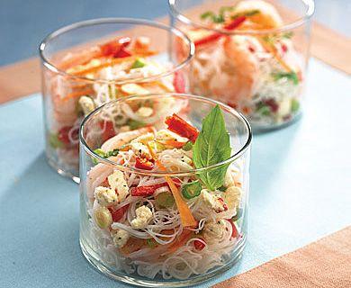 Shrimp and Rice Vermicelli Salad with Apetina® Crumbled Feta Cheese #salad #sidedish #recipe #feta