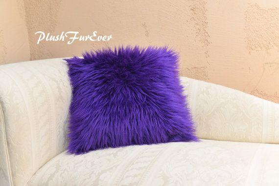 Purple Mongolian Shaggy Cushion Pillow Faux Fur Home Decor Pillows 18 x 18 (Inserts Included) Fur Sofa Bed Couch Luxury Fur Decor    DESCRIPTION:
