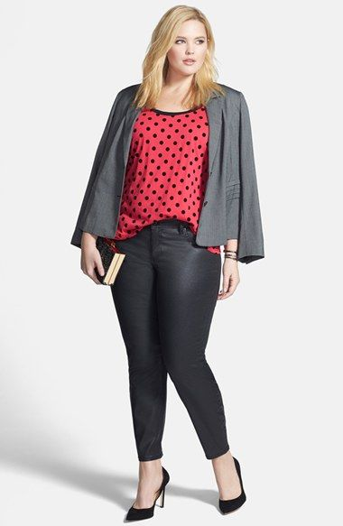 Halogen® Suit Jacket, City Chic Top & Seven7 Coated Skinny Jeans (Plus Size)  available at #Nordstrom