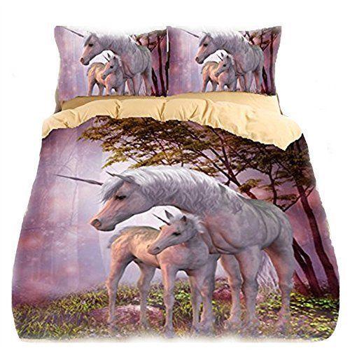 3D Unicorn Duvet Cover Set Queen Purple 2 Pillowcase Bedding Warm Soft Bedroom #helengili #ArtsCraftsMissionStyle