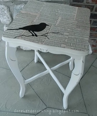 Did this with an end table using old sheet music.  My son stole it for his…
