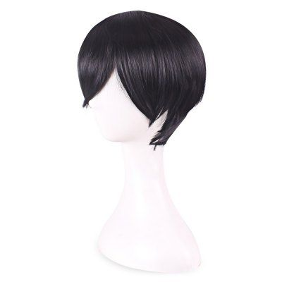 Handsome Short Straight Black Full Hair Toupee Wigs Cosplay #women, #men, #hats, #watches, #belts, #fashion
