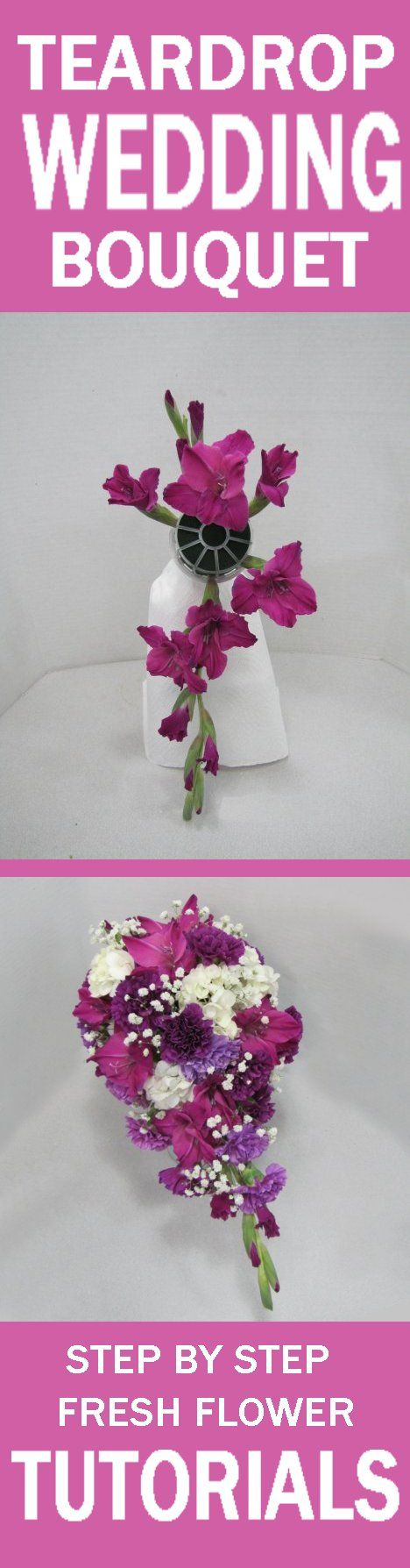 Purple Wedding Flower Bouquets - Easy Free Fresh Flower Tutorials Learn how to make bridal bouquets, wedding corsages, groom boutonnieres, church decorations and reception table centerpieces.  Buy wholesale flowers and discount florist supplies.