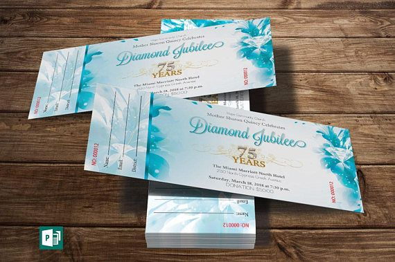 Blue Diamond Jubilee Ticket Publisher Template 10 Gold and ...