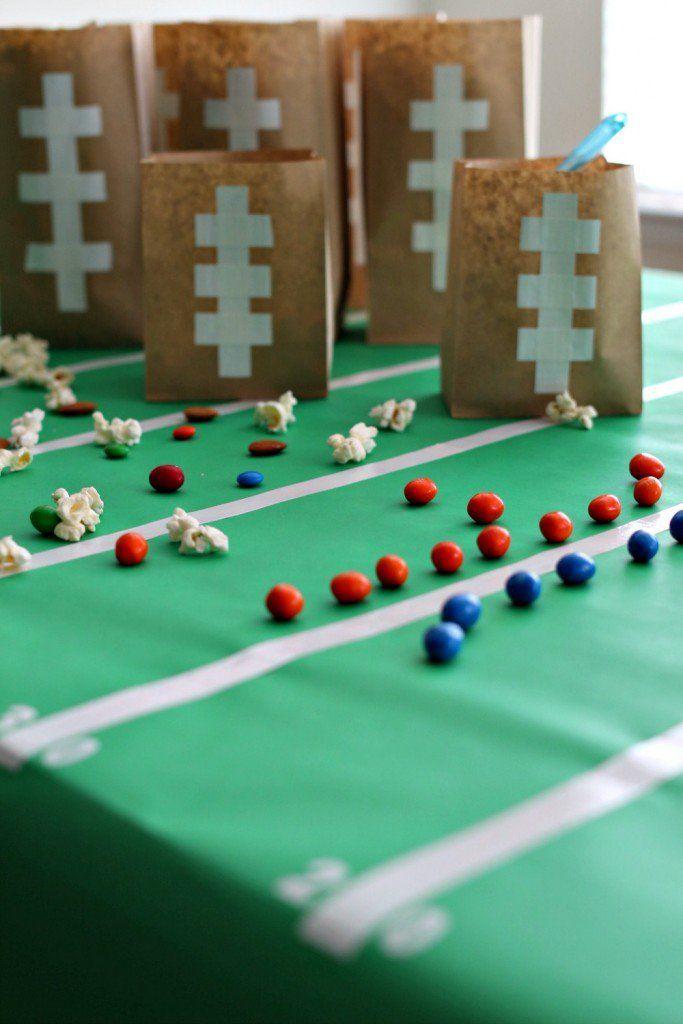 easy diy football party bags table dcor