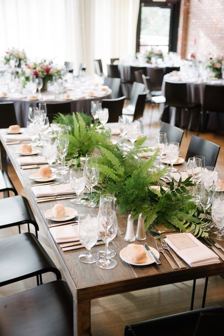 Textural green table garland. Greenery table runner. Dark + Diamond Floral Design.