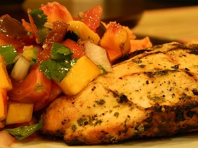 Cilantro Lime Grilled Chicken with Fresh Peach Salsa and Tomato Rice