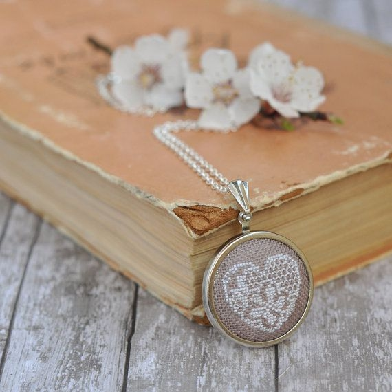 Embroidered Lace Heart Necklace // Bridesmaid Necklace Gift // Modern Hand Embroidery