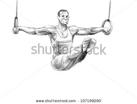 Hand-drawn Sketch, Pencil Illustration Olympic Games Athletes   Rings   High Resolution Scan - stock photo