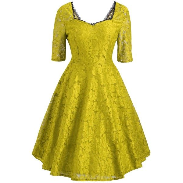 Floral Lace Sweetheart Vintage Dress ($22) ❤ liked on Polyvore featuring dresses, rosegal, floral printed dress, flower print dresses, vintage day dress, sweetheart neckline dress and yellow vintage dress
