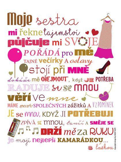 Bílý plakát  HEZKÝ SVĚT Sestra, 329 Kč #cedule #dárky #vánoce #děti #rodina #tip3dmámablog.cz
