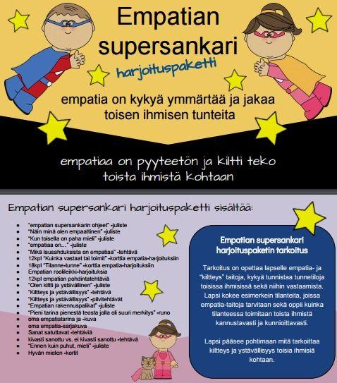 Empatian supersankari paketti sisältää 64 sivua tehtäviä, asiaa ja harjoituksia lapsen empatia- ja kiltteystaitojen harjoittamiseen.