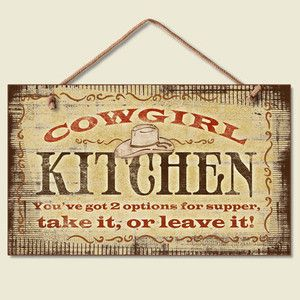 Image detail for -Western Lodge Cabin Decor Cowgirl Kitchen Wood Sign Braided , western ...
